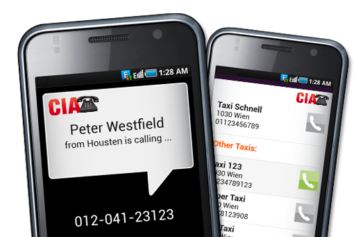 screenshot of caller lookup and main menu of the adaffix app
